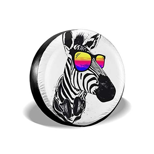 Yuotry Waterproof Tire Cover - Cool Zebra with Sunglass Tire Sun Protectors Weatherproof Tire Protectors Wheel Covers for 14-17 Inch