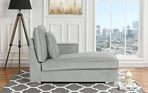 - Classic Living Room Velvet Chaise Lounge (Light Grey)