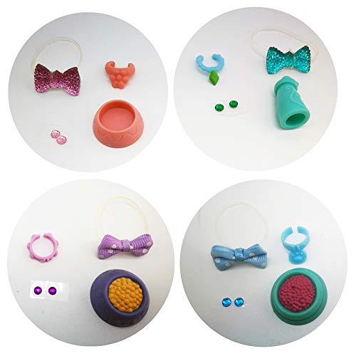 LPS Accessories Lot Bow Collars Food Bowl Necktie Necklace Stick on Earrings Gift Bag Random 4 Pcs Suit for LPS Toys Shorthair Cat Collie Great Dane Dachshund Cocker Spaniel PET is NOT Included