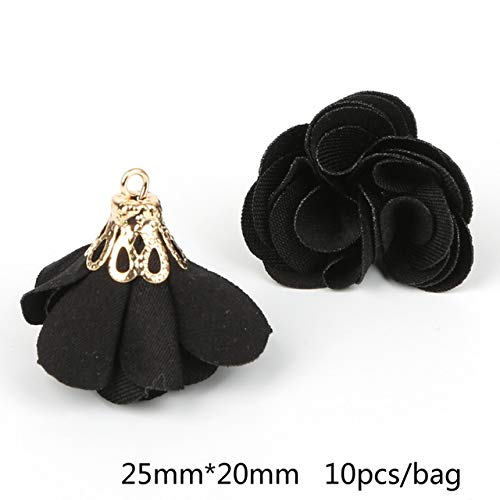 Lindsie-Box - Top Quality 10pcs Flower Gold Hollow Cap With Pearl Fabric Tassel For Drop Earrings Pendant DIY Jewelry Findings (Cap Pearl Drop)