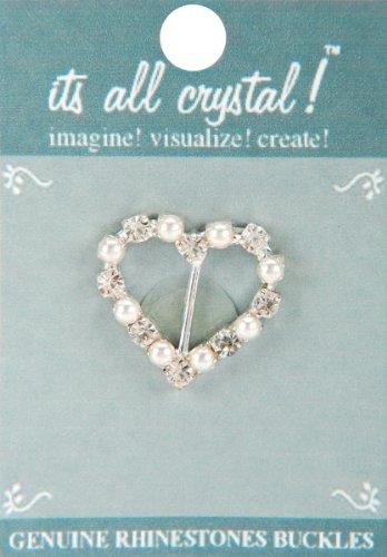 (Vision Trims Genuine Rhinestone Buckle 38mm Heart-Silver/Pearl)