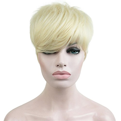 Aimole Synthetic Short 6 Inches Blonde #613 Straight Wig Heat Resistant Full Capless Hair Party Wig