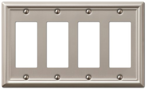 AmerTac 149R4BN Chelsea Steel Quad Rocker-GFCI Wallplate, Brushed Nickel by AmerTac