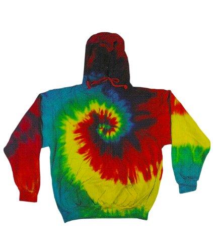 tie dye Adult Tie-Dyed Spider Blended Hoodie - Reactive Rainbow Swirl - M