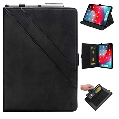 KATEGY iPad Pro 11 Inch Case with Pencil Holder, Premium PU Leather Folio Case with Apple Pencil Strap Holder and Card Slots Magnetic Smart Case Cover for iPad Pro 11 inch 2018 Release - Black by KATEGY (Image #9)