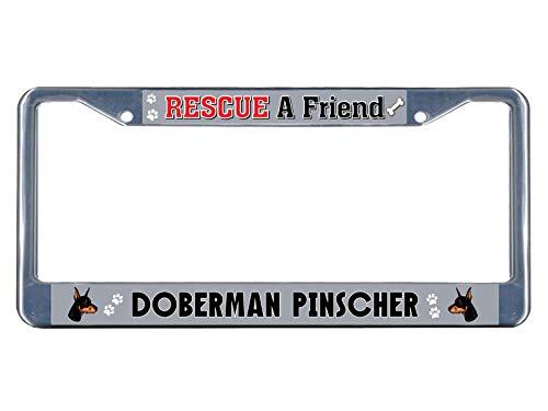 Knife Rescue Bravo (Doberman Pinscher Dog Rescue a Friend Metal License Plate Frame Tag Border Perfect for Men Women Car garadge Decor)