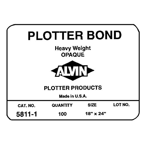 Alvin 5811-8 Heavyweight Opaque Plotter Bond 100-Sheet Pack 18 inches x 24 inches