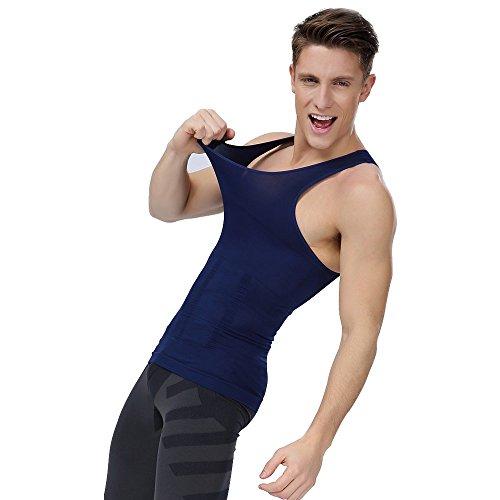 Shaxea Men Slimming Body Shaper SeamlessGynecomastiaCompression ShirttoHideManBoobsMoobs, Abs Abdomen Slim Shirt(L,Blue)
