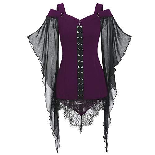 DONTAL Halloween Women Gothic Criss Cross Lace Insert Butterfly Sleeve T-Shirt Plus Size Tops Purple