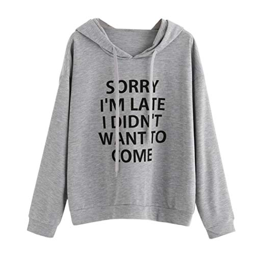 Wenjuan Womens O-Neck Hoodie Jumper Sweatshirtt Pure Letters Print Ear Hooded Long Sleeve Pullover Blouse Top (Gray, S) from Wenjuan-Clothing Shoes & Accessories Blouse