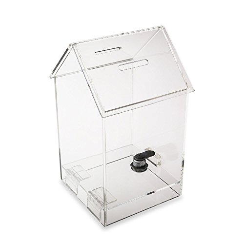 Source One Tall Penthouse Acrylic Box - Donation Box - House shape Ballot Box - Tip Container (1 Pack)