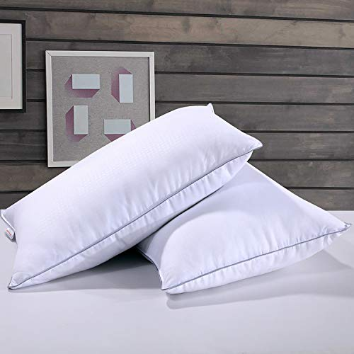 Classic Feather Pillow - Homelike Moment Feather Down Pillows for Sleeping 2 Pack Bed Pillow Standard Queen Size Pillow Set of 2 Hypoallergenic