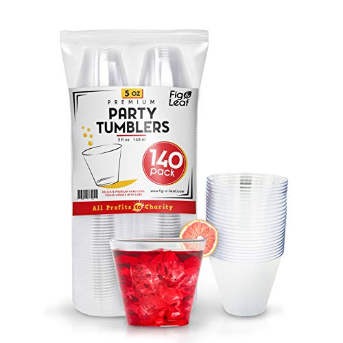 Fig & Leaf (140 Pack) 5 OZ Clear Plastic Cups Premium Hard Plastic Party Cup l Old Fashioned Tumblers 5-Ounce l Sturdy Disposable Reusable Durable l Top Choice for Catering Wedding Birthday Event -