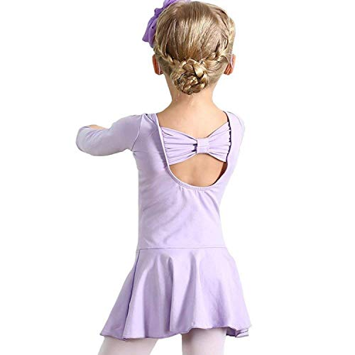 otard Outfits Dance Ballerina Dress Ballet Leotard Long Sleeve Skirt Kids Dance Leotards US-XXXL (Long Sleeve Purple,160) ()