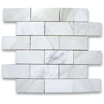 Calacatta gold marble subway tile Italian marble backsplash