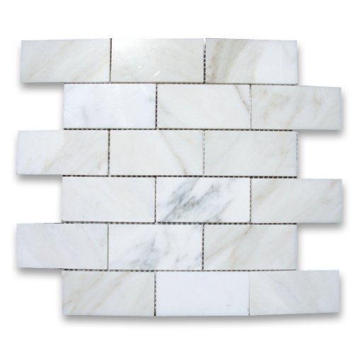 Calacatta Gold Italian Calcutta Marble Subway Brick Mosaic Tile 2 x 4 Polished