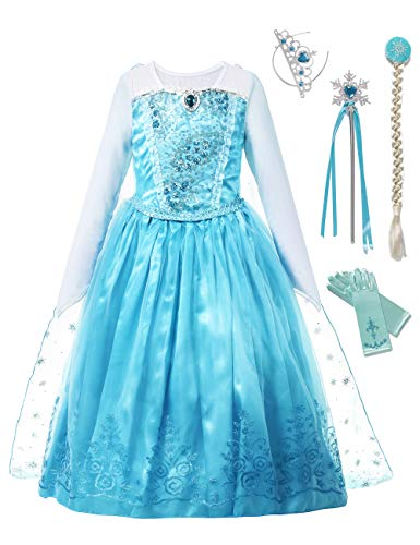 aibeiboutique Girls Princess Costume Ice Snow Queen Sequin Cosplay Dress up(4-5 Years) ()