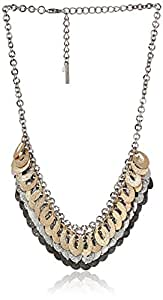 "Steve Madden ""Mixed Metallica"" Tri-Tone Glitter Shaky Oval Necklace"