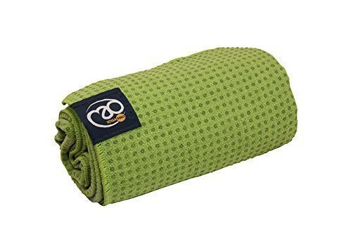 Lime Green Grip Dot Towel by Yoga Mad