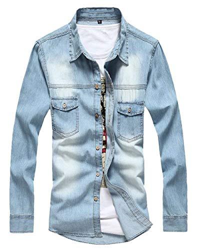 A Con Hellblau Cappotto Giacca Manica Lunga Jeans Capispalla Retro Stile In Giacche Di Risvolto Bottoni Lanceyy Da Semplice Denim Uomo Jeans Pxzqw4Rqa