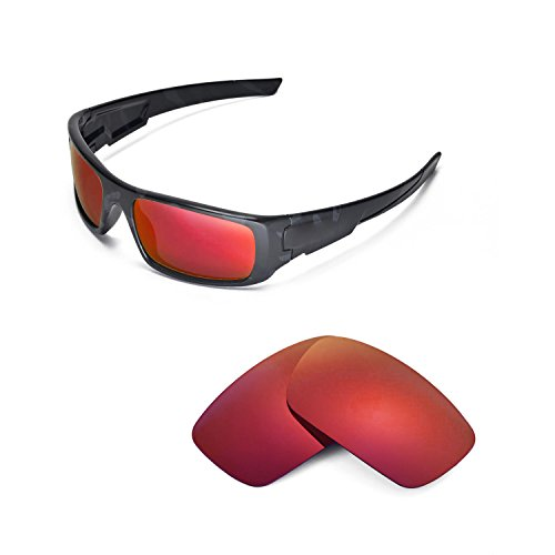 Walleva Replacement Lenses Oakley Crankshaft Sunglasses - Multiple Options Available (Fire Red Mirror Coated - - Oakley Replacement Lenses Crankshaft