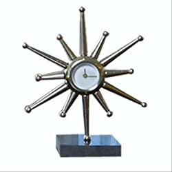 Mid Century Modern Star Burst Desk Clock | 10.5 Retro Sun Silver Metal Granite