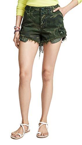 Free People Women's Commander Cutoff Camo Shorts, Khaki Combo, Print, Green, ()