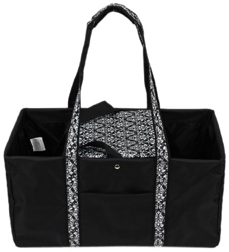sachi-194-146-fashion-utility-lunch-tote-with-insulated-cooler-black-with-black-and-white-damask