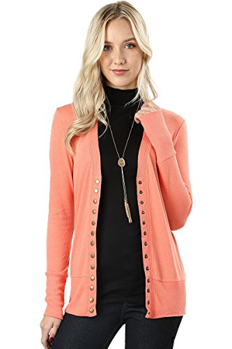 Cardigans for Women Long Sleeve Cardigan Knit Snap Button Sweater Regular & Plus - Coral (Size M) ()