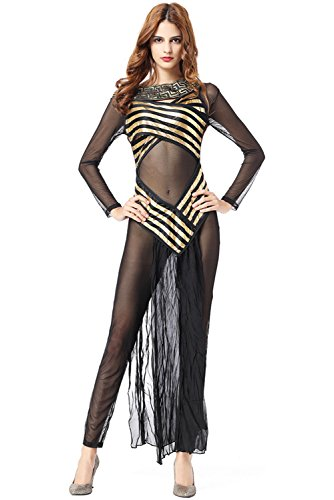 Fancycloth Women's Greek Goddess Costume Egypt Arab See-Through Uniform -