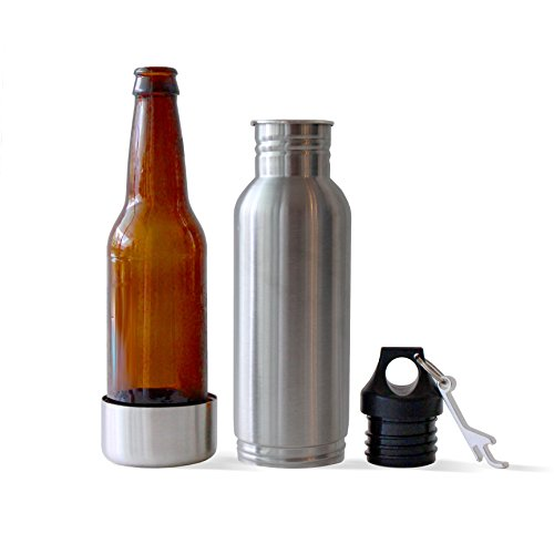 Stainless Steel Bottle Insulator Coolers -Keep Beer or Beverage Ice Cold Longer - Fits most 12 oz bottles - Holder uses Liquid Tight Seal with Opener (1)