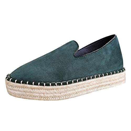 Baiggooswt Women's Slip On Loafers Espadrilles Platform Summer Thick Casual Sneakers Breathable Weaving Flat Single Shoes Green