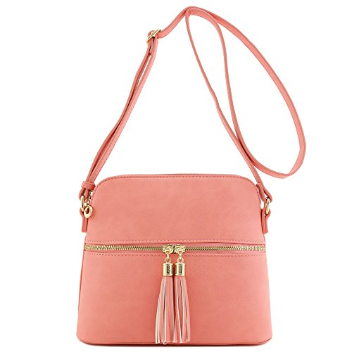Crossbody Bag Pink Dome Accent Light Tassel Medium aRw76Fxxq