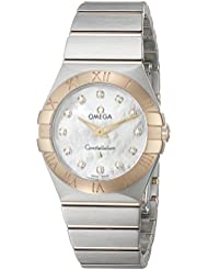 Omega Womens 12320276055002 Constellation Diamond-Accented Stainless Steel and 18k Gold Watch