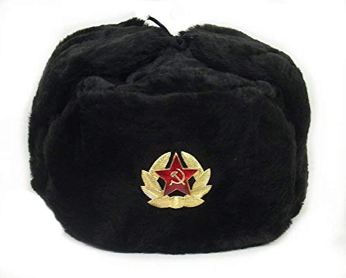 Russian Soviet Army Fur Military Cossack Ushanka Hat (Black, 56(S)) ()