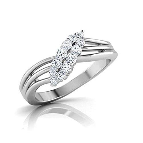 18K Or Blanc, 0,31carat Diamant Taille ronde (IJ   SI) en diamant