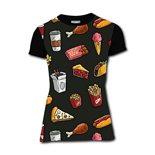 LLBabyMomT Food Chips Hamburger Snacks T-Shirts Tee Shirt for Women Pregnant Tops Round Black (Cheap Halloween Snack Ideas)