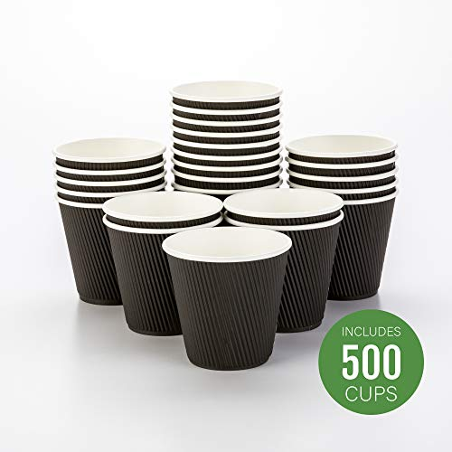 500-CT Disposable Black 8-OZ Hot Beverage Cups with Ripple Wall Design: No Need for Sleeves - Perfect for Cafes - Eco-Friendly Recyclable Paper - Insulated - Wholesale Takeout Coffee Cup