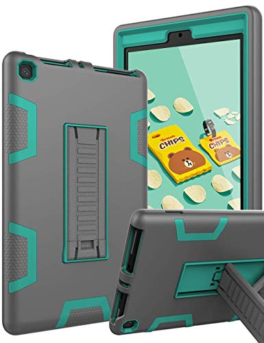 TOPSKY Case Amazon Kindle Fire HD 8 Case 2017/2018 Release,[Kickstand Feature] Heavy Duty Rugged Shockproof Kids Proof Hybrid Protective Cover Case HD 8 7th/8th Generation,Grey Green