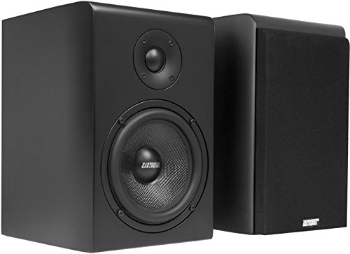 Earthquake Sound RBS-52 2-Way Bass Reflex Bookshelf Home Speakers, Set of 2, Matte Black