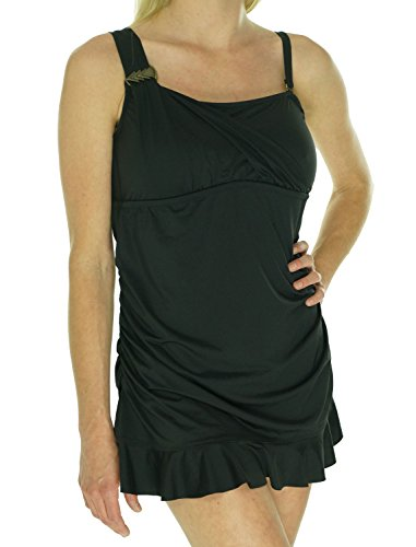 Becca Etc by Rebecca Virtue Women's Plus Size Asymmetrical Swimdress Swimsuit Black 1X (Sale Swimwear Becca)