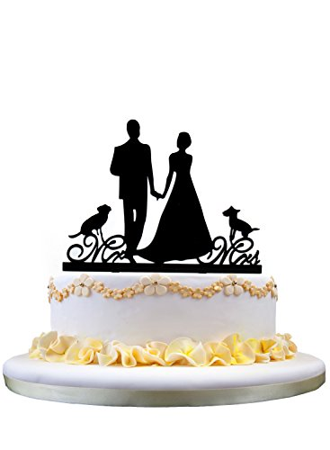 Unique-Love-Wedding-Cake-Toppers-Bride-and-Groom-Mr-and-Mrs-Wedding-Cake-Topper-with-two-pet-dogs