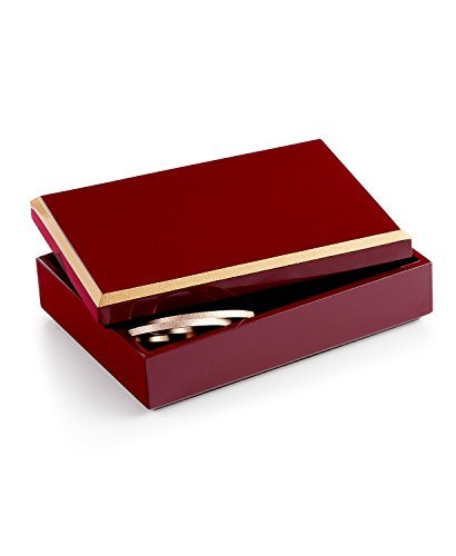 Beveled Red Lacquered Jewelry Storage Box by Home - Box Lacquered