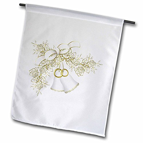 3dRose fl_124264_1 Wedding Bells and Flowers Garden Flag, 12 by (Wedding Flags)