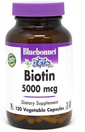 Bluebonnet Nutrition Biotin 5000 Mcg Vegetable Capsules, Biotin is a B Vitamin That Helps Make Keratin, Vegan, Vegetarian, Non GMO, Gluten Free, Soy Free, Milk Free, Kosher, 120 Vegetable Capsules