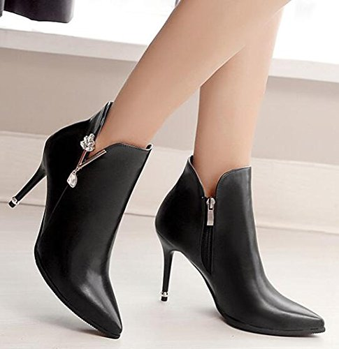Short Ankle Heels Toe Stiletto Sexy Boots Zipper Side High Womens Pointed Black IDIFU TBxvwqzHn
