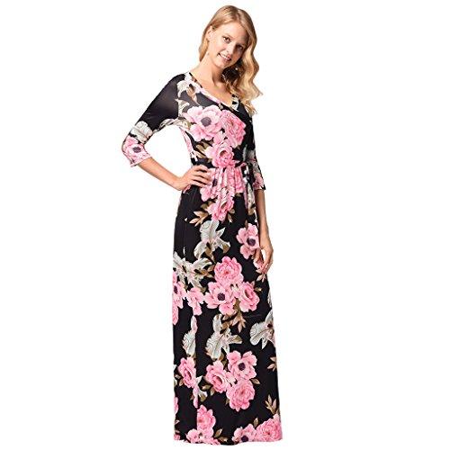 V Black scollo da XXL Stampa con WANG M Vestiti donna estivi dimensioni a maniche vita Black S lunghe maniche alta a Sette Vestiti Colore UUvw7xg