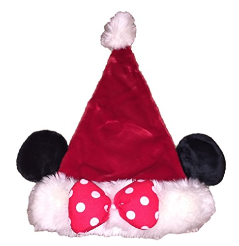 Disney Boys Girls' Mickey Mouse Minnie Mouse Plush Santa Hat with Ears (Minnie)