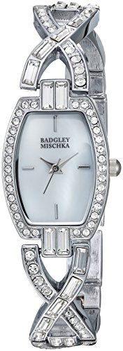 Badgley Mischka Women's BA/1379MPSV Swarovski Crystal Accented Silver-Tone Bangle Watch