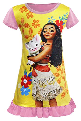AOVCLKID Moana Comfy Loose Fit Pajamas Dress Girls Princess Dress (100/2-3Y, Yellow)